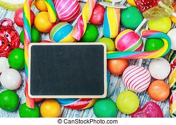 tablica, pisanie, Powitania, Cukierek, słodycze