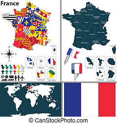 Map of France - Vector map of France with regions with flags...