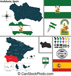 Map of Andalusia, Spain - Vector map of region of Andalusia...