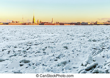 Peter and Paul Fortress in winter at sunrise in St...