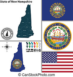 Map of state New Hampshire, USA - Vector set of New...