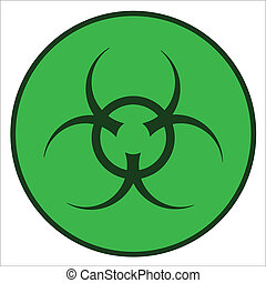 Bio Hazard Symbol - A bio-hazard symbol in green against a...