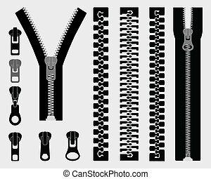 zipper  - Set of different zipper black symbols, vector
