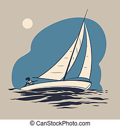 Yacht - Girl riding on a sailing boat on the sea waves...