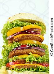 big hamburger closeup fast food