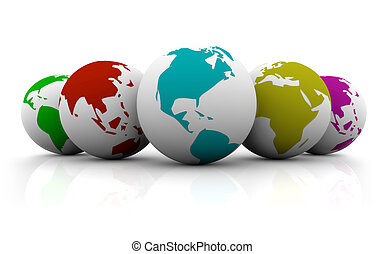 Line-up of Colorful Planet Earths - A line-up of planet...