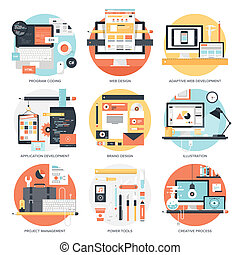 Design and Development - Abstract flat vector illustration...