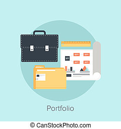 Portfolio - Vector illustration of portfolio flat design...