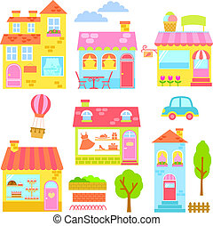 colorful houses - collection of colorful houses, shops and...