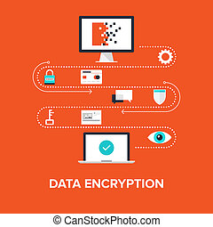 Data Encryption - Abstract flat vector illustration of data...