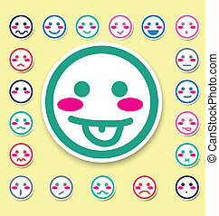 emotion faces icons set vector illustration