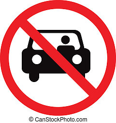 Circle Prohibited Sign For No Car or No Parking Sign