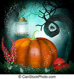 Magical background with pumpkin and creepy trees