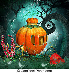 Magical background with pumpkin carriage and creepy trees