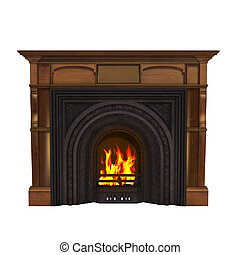 Fire place - isolated on the white background