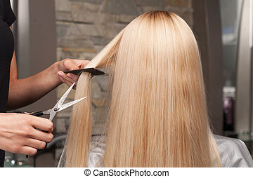 Back view of woman getting new haircut by hairdresser at...