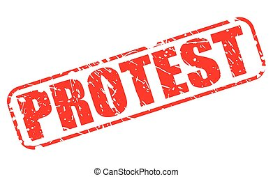 Protest red stamp text on white