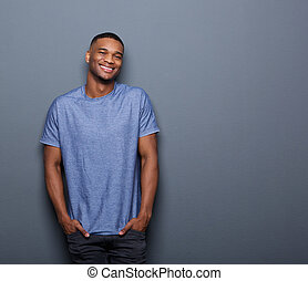 Young african american man smiling - Portrait of a young...