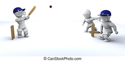 men playing cricket - 3d render of men playing cricket