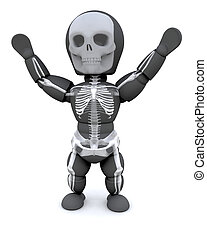 man in halloween party skeleton outfit - 3D render of man in...