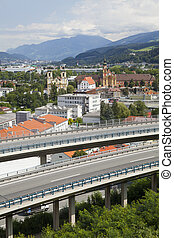 Innsbruck city view and highway