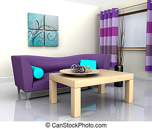 contemporary interior and sofa - 3D render of a contemporary...