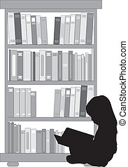 Silhouette of a girl reading a book