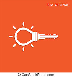 Creative light bulb idea concept with padlock symbol. Key of idea. Business ideas.