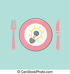 Creative light bulb idea and brain concept background...