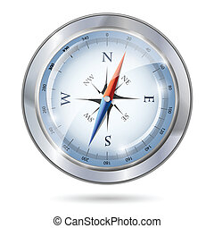 Glossy silver compass