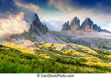 Rifugio Lacatelli in National Park Tre Cime di Lavaredo....
