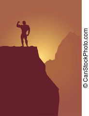 bodybuilder on mountain - vector bodybuilder on mountain...