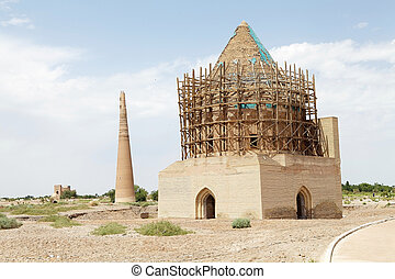 Turkmenistan - Tekesh Mausoleum with Kutlug Minaret and...