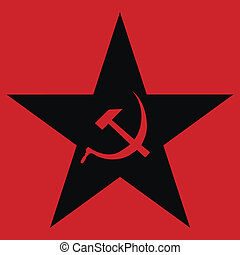 Communist star on red background.