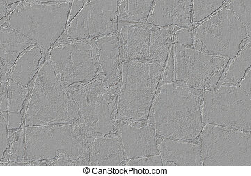 Texture of wall of large stones plastered with lime white
