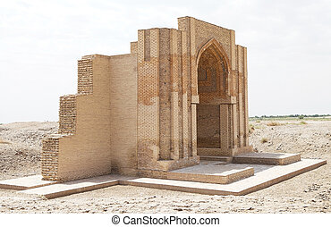 Turkmenistan - Portal of the unknown building at the...