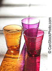 three color drink glasses