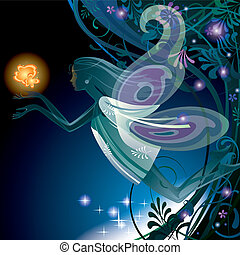 Fairy girl - Vector image of a transparent fairy girl with...