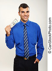 Young businessman with one dolar - Young smiling businessman...