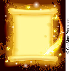 Fairy parchment and magic pen - Vector image of fairy...