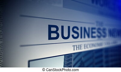 Newspaper with business news titles. Shallow dof.
