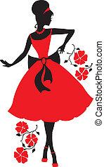 Retro woman silhouette - Retro woman red and black...
