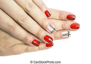 Manicure - Women's hands with painted nails in different...