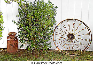 Vintage Wagon Wheel and Milk Can