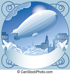 Zeppelin - Raster version of vector image of retro label...