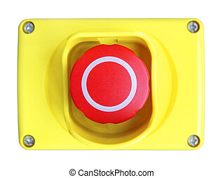 Red button in the yellow plastic box