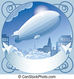 Zeppelin - Vector image of retro label with a zeppelin in...