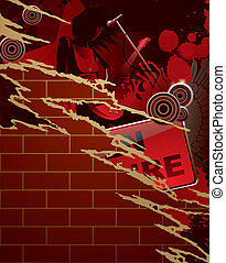 Torn musical poster - Vector torn paper musical poster with...