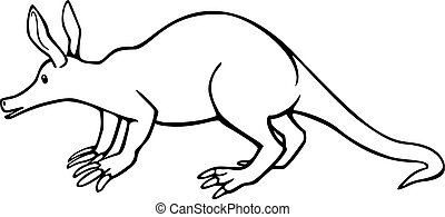 Aardvark - vector line drawing of an aardvark