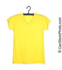 t-shirt on hanger isolated on white - yellow t-shirt...